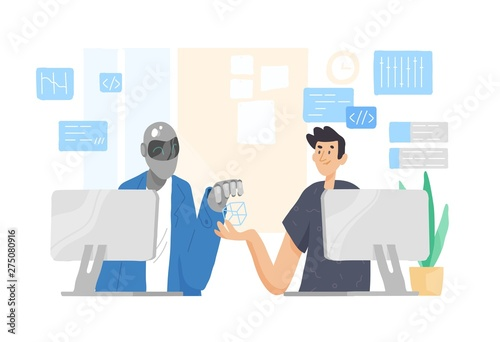 Robot and man sitting at computers and working together at office