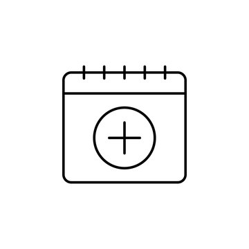 Calendar, add icon. Simple thin line, outline vector of calendar icons for ui and ux, website or mobile application