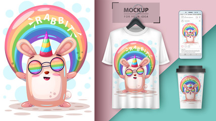 Rainbow rabbit unicorn - mockup for your idea