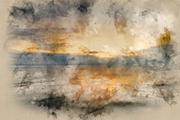 Digital watercolor painting of Beautiful vibrant sunrise landscape over calm sea