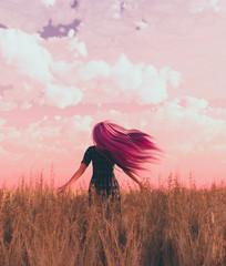 Woman in grass field,3d rendering