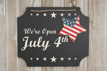 We are open July 4th Independence Day message