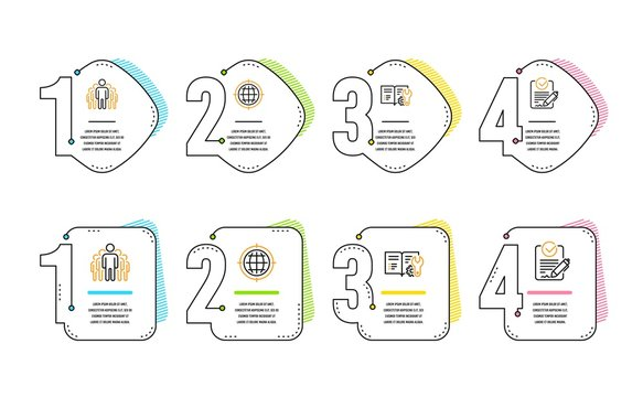 Seo internet, Group and Engineering documentation icons simple set. Rfp sign. Globe, Managers, Manual. Request for proposal. Technology set. Infographic timeline. Line seo internet icon. Vector