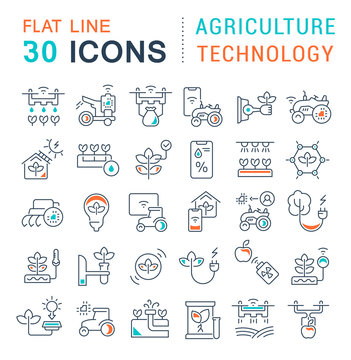 Set Vector Line Icons of Agriculture Technology