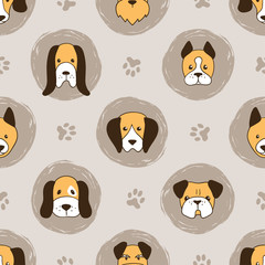 Seamless cute dogs pattern for kids.