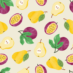 Watercolor fruit pattern with pear and passion fruit.