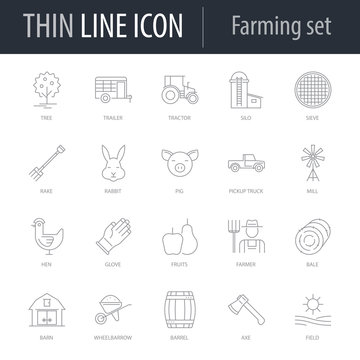 Icons Set of Farming. Symbol of Intelligent Thin Line Image Pack. Stroke Pictogram Graphic for Web Design. Quality Outline Vector Symbol Concept Collection. Premium Mono