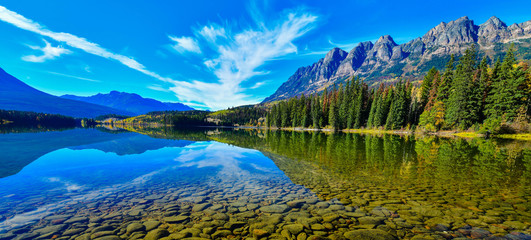 Wall Mural - Reflection of Mount Fitzwilliam on Yellowhead Lake in the Canadian Rockies, British Columbia, Canada