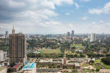 Aerial view of Nairobi, Kenya looking toward governement buildings and Kilimani. Wall mural