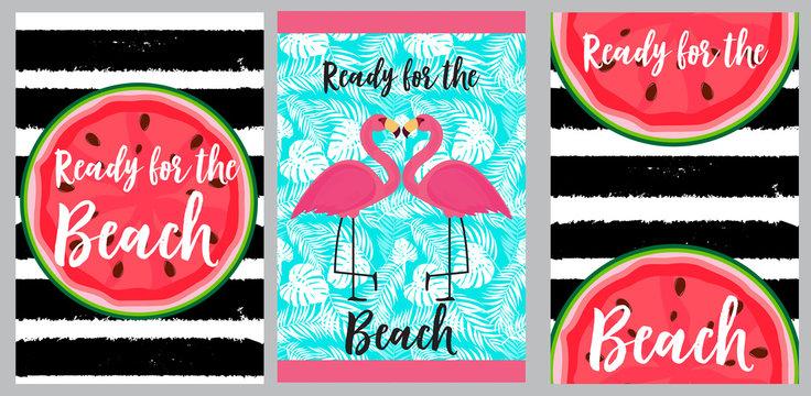 Beach towels design template. Vector Illustration