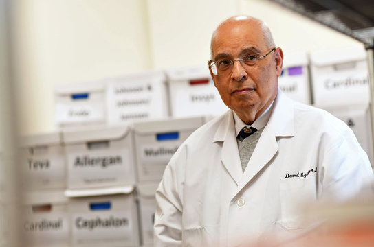 Dr. David Egilman, MD and an expert witness who leaked confidential safety records about Zyprexa and also sought to shine a light on OxyContin poses for a portrait at his office in Attleboro