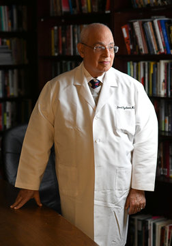 Dr. David Egilman, MD and an expert witness who leaked confidential safety records about Zyprexa and also sought to shine a light on OxyContin poses for a photograph at his office in Attleboro