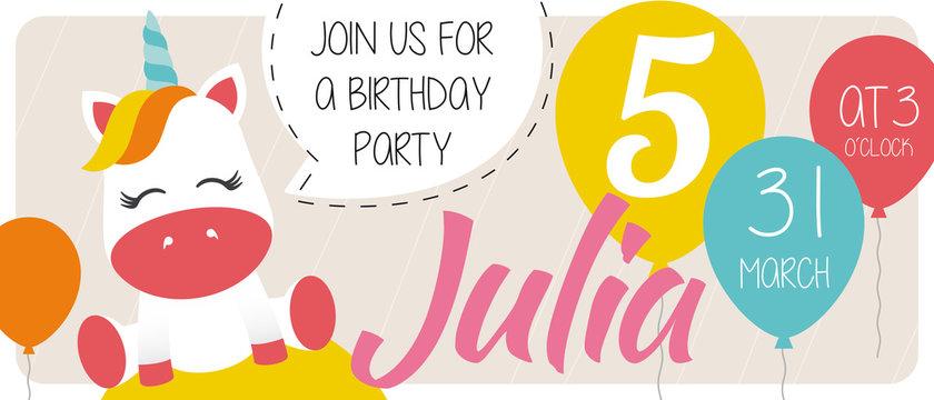 5th birthday party invitation card 10x15 with  - Unicorn