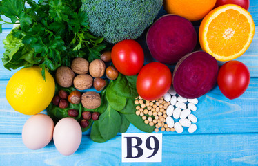 Healthy products and ingredients as source vitamin B9 (acidum folicum), natural minerals, concept of nutritious eating.