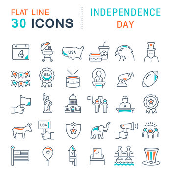 Set Vector Line Icons of Independence Day
