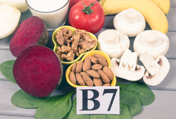 Healthy products and ingredients as source vitamin B7 (biotin), dietary fiber and natural minerals, concept of nutritious eating.