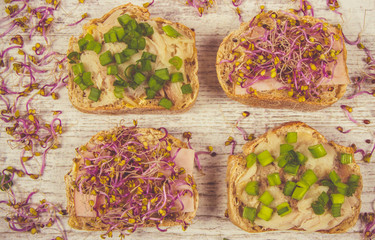 Sandwiches with ham, smoked mackerel and kale sprouts as an ingredient of a healthy diet.