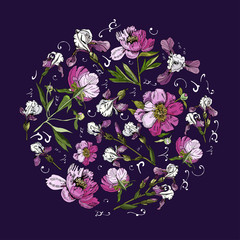 Circle composition for you design  with  flowers of peony and iris. Hand drawn ink sketch. Elegance color elements on dark purple  background.