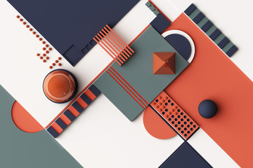 Design with composition of geometric shapes in orange and darkblue tone. 3d rendering illustration