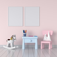 Two blank photo frame for mockup in pink child room, 3D rendering