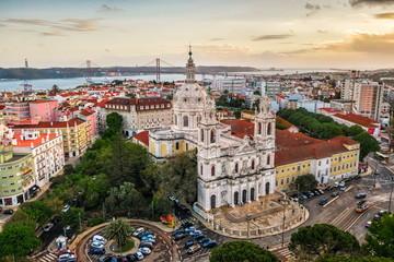 Royal estrela basilica Lapa, convent of most, cathedral basil old european church Portugal Lisbon, drone photo, air view Wall mural