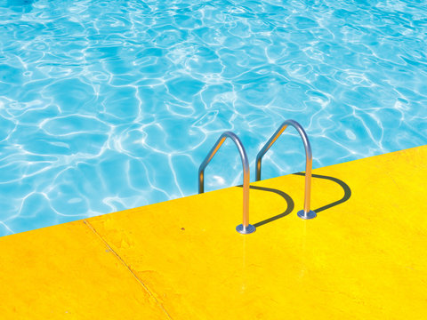 Grab bars ladder in the blue swimming pool. 3d render