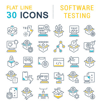 Set Vector Line Icons of Software Testing