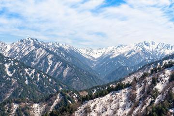 Snow mountain range at Tateyama Kurobe Alpine Route.