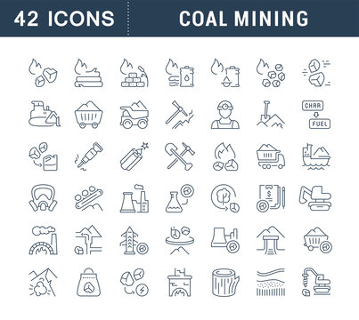 Set Vector Line Icons of Coal Mining