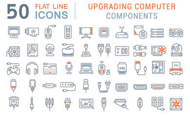 Set Vector Line Icons of Upgrading Computer Components Wall mural