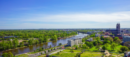 View across Magdeburg, the capital city of Saxony Anhalt Wall mural