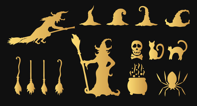 Golden halloween witches, hats, cats, brooms silhouettes. Evil potion. Scary October party gold clipart.
