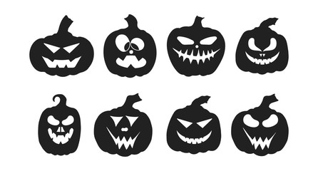 Halloween jack o lantern pumpkin silhouettes with spooky smiling faces. October party scary cartoon clipart collection.