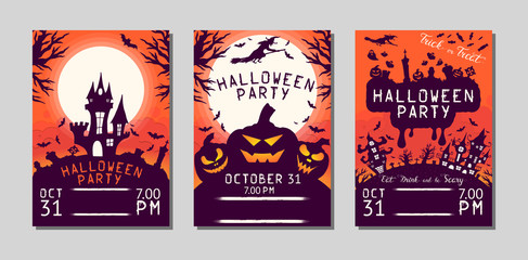 Halloween flyer with pumpkins, cemetery, haunted house, bats and witch under the moon for october 31 night. Vector isolated horror posters. Party invitation leaflet.
