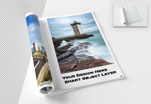 Open Rolled Magazine Mockup