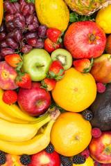 Wall Mural - Food background fruits collection portrait format apples berries oranges lemons fruit