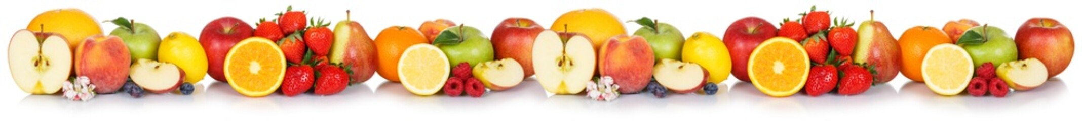 Fresh fruits collection apple apples banner orange strawberries berries fruit isolated on white in...