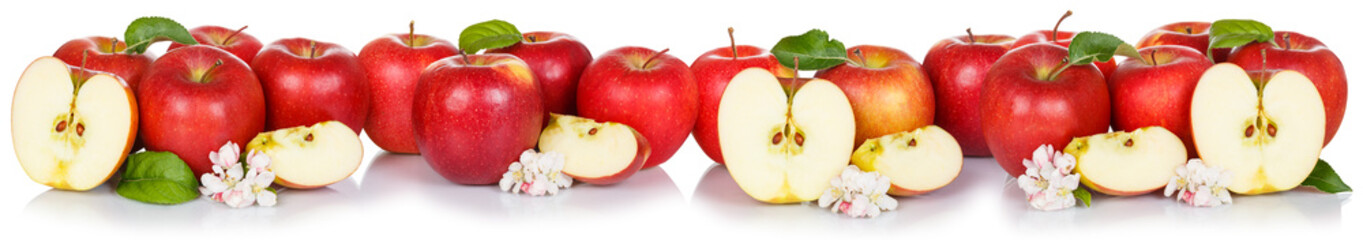 Wall Mural - Red apple fruits apples fruit collection collage isolated on white