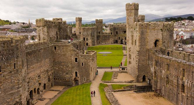 A Caernarfon Castle Panorama, Wales, Great Britain, UK
