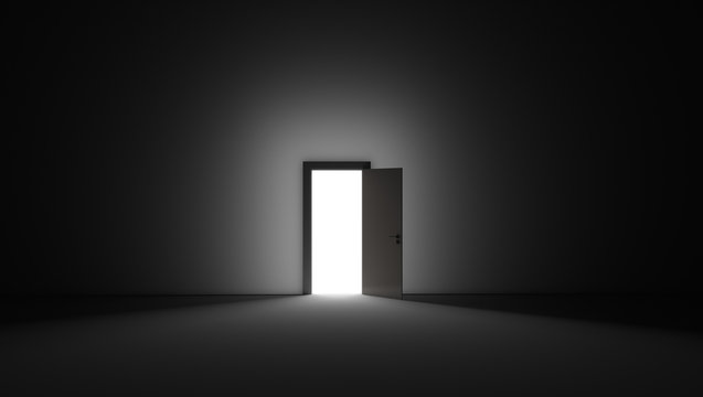 An open door with bright light streaming into a very dark room. 3D rendering illustration