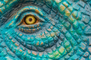 Close up to Colorful and patterns of  dinosaur model surfaces created with cement