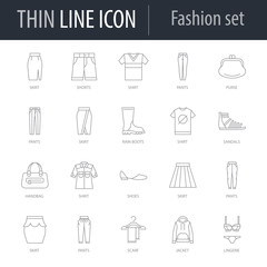 Icons Set of Fashion. Symbol of Intelligent Thin Line Image Pack. Stroke Pictogram Graphic for Web Design. Quality Outline Symbol Concept Collection. Premium