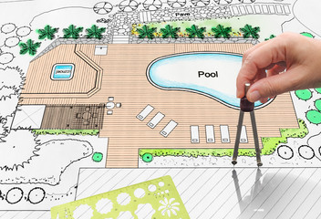 Landscape architect design backyard pool plan for hotel
