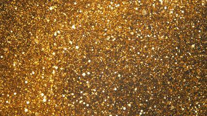 Fototapete - Explosion of golden glitter dots.
