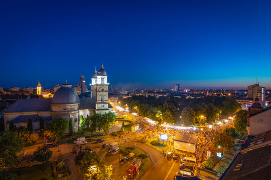 People Partying At Blue Hours At Satu Mare City Festival In Romania