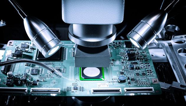 BGA chip ready for repair in rework machine