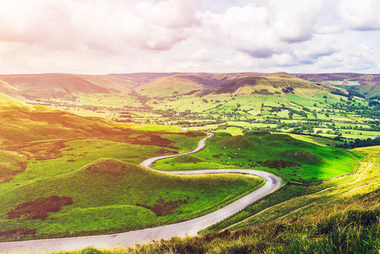 Mam Tor hill near Castleton and Edale in the Peak District National Park, England, UK