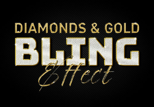 Diamonds and Gold Text Effect Mockup