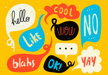 Various speech bubbles with words. Hand drawn set. Different shapes. Abstract contemporary modern trendy vector illustration. Stamp texture. All elements are isolated