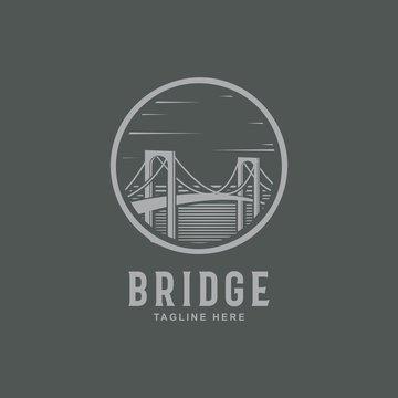 Bridge logo emblem inspiration.Bridge in the circle symbol - Vector